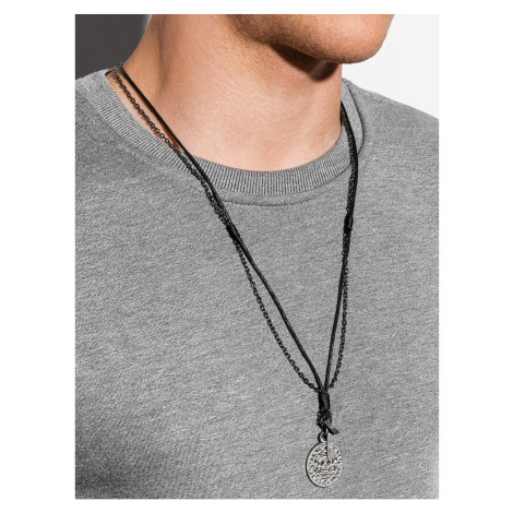 Ombre Clothing Men's necklace on the leather strap A358