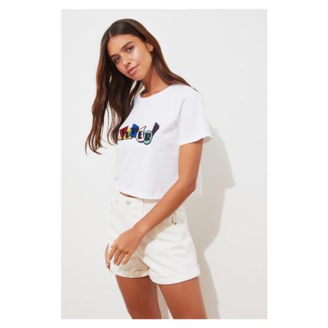 Trendyol White Crop Knit T-Shirt