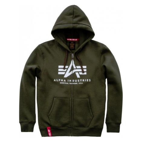 Pánska mikina Alpha Industries Basic Zip Hoody Dark Green - Veľkosť:3XL