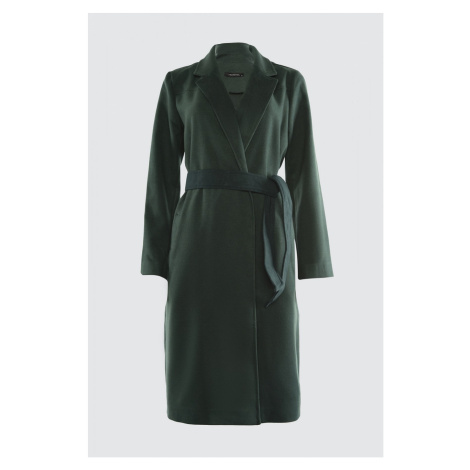 Trendyol Green Belt Pocket Detailed Long Cachet Coat