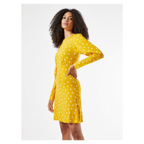 Žlté bodkované šaty Dorothy Perkins