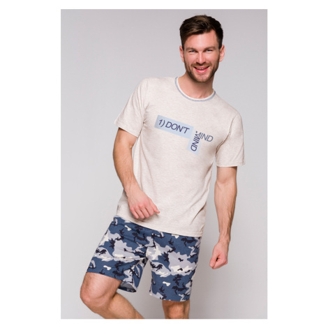 Pánske sivo-modré pyžamo Szymon Taro