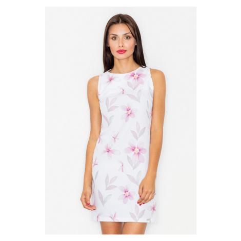 Bielo-fialové šaty M498 Figl