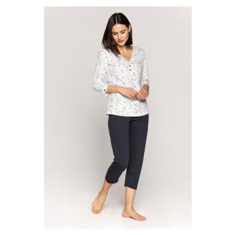 Dámske pyžamo CANA 555 MM Bílo-šedá