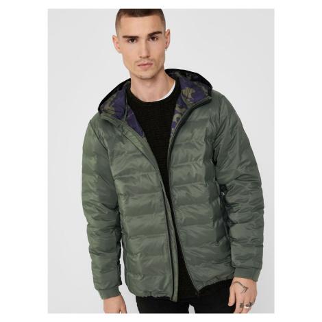 Khaki zimná prešívaná bunda ONLY & SONS