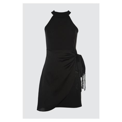 Trendyol Black Belt Fringe Dress