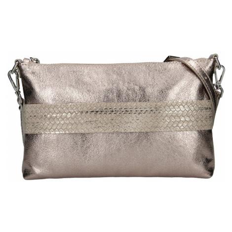 Trendy dámska kožená crossbody kabelka Facebag Elesn - zlatá