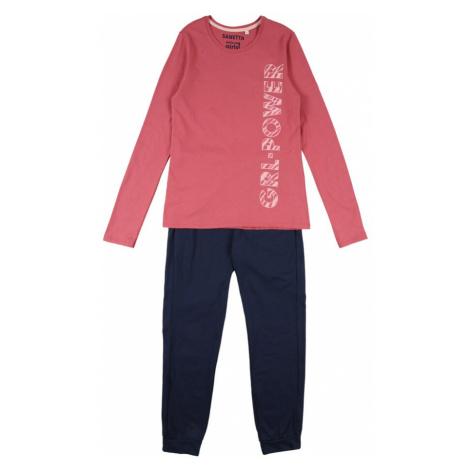 SANETTA Pyžamo  ružová / námornícka modrá / biela