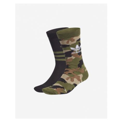 adidas Originals Camo Crew Ponožky 2 páry Zelená
