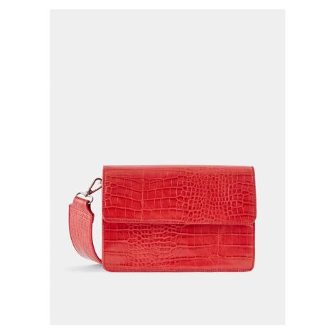 Červená crossbody kabelka s krokodýlím vzorom Pieces Jally
