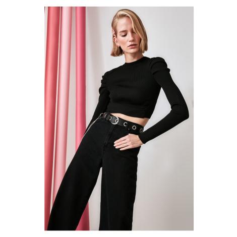 Trendyol Black Arm Smuze Waist Detailing Knitwear Sweater