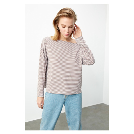 Trendyol Brown Striped Knitted T-Shirt