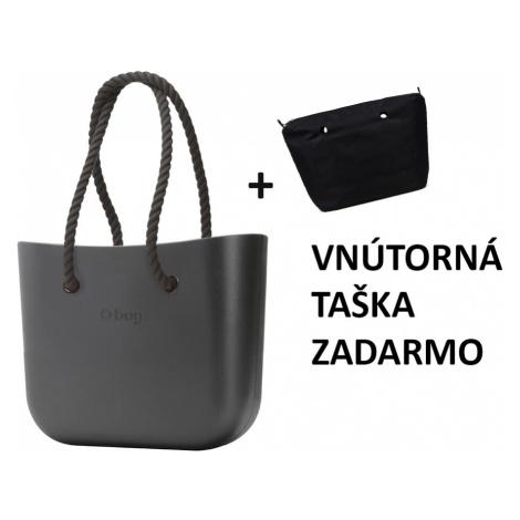 Obag grafite s povrazom čiernym + vnútorná taška black zadarmo O bag