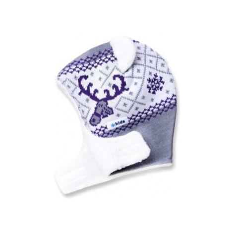 Detská pletená kukly-čiapky Kama B16 109 sivá
