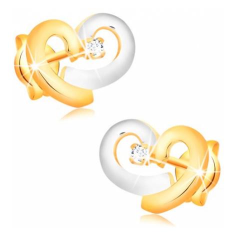 Briliantové náušnice zo zlata 585 - obrys nesúmerného srdca, diamant čírej farby