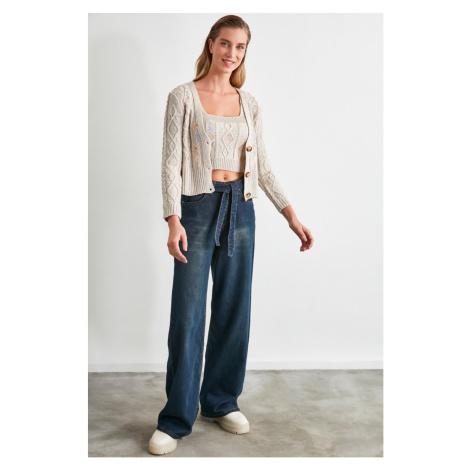 Trendyol Blue Belt High Waist Wide Leg Jeans