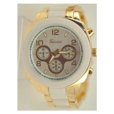 Dámske hodinky Geneva Stripe - Gold White