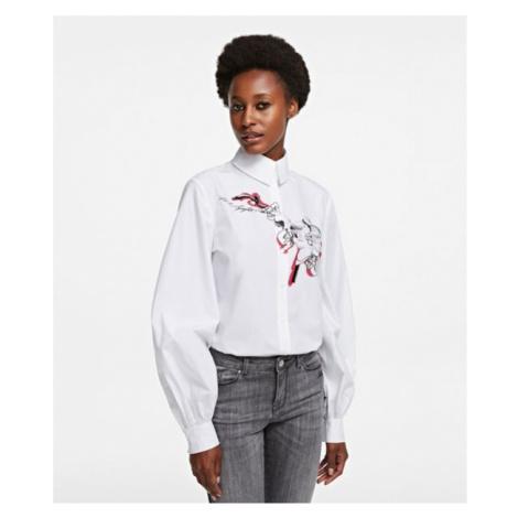Košeľa Karl Lagerfeld Orchid Print Poplin Shirt