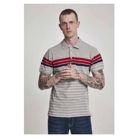 Pánska košeľa s krátkym rukávom URBAN CLASSICS Classic Stripe Polo grey/firered/navy/white