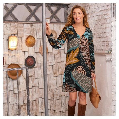 Blancheporte Šaty na zips, potlač khaki/tyrkysová