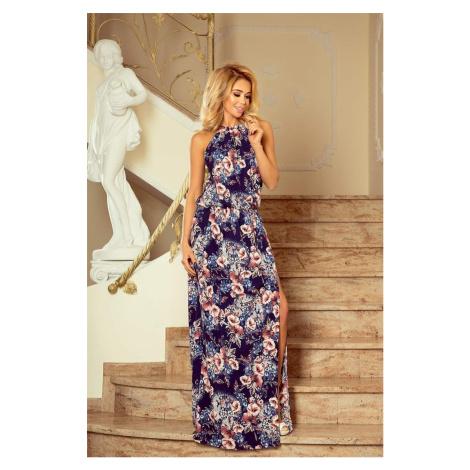 Dlhé šaty s kvetinovým motívom v191-2