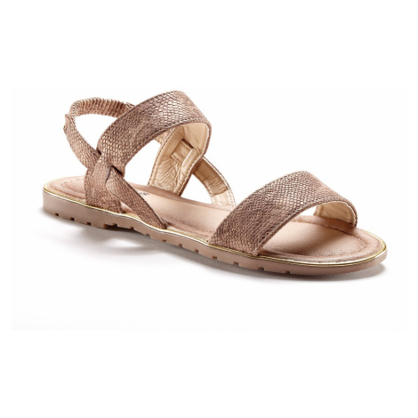 Blancheporte Ploché sandále so vzorom hadej kože gaštanová