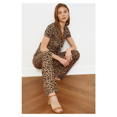 Trendyol Camel Leopard Print Knitted Coverall
