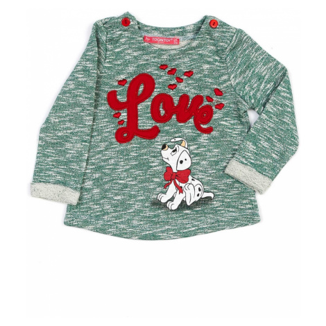 Melange green girls´ sweatshirt with embroidery and a doggy style