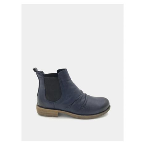 Tmavomodré dámske kožené chelsea topánky WILD