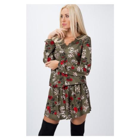 Jedinečné, krátke šaty posiate kvetmi s dlhým rukávom, kaki FASARDI