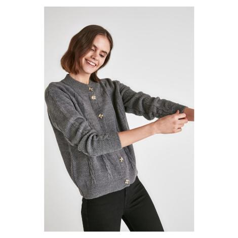 Trendyol Anthracite Mesh Detailed Knitwear Cardigan
