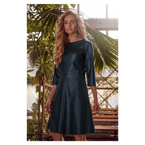 Tmavozelené šaty z eko kože M541 Moe