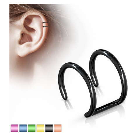 Falošný piercing do ucha z ocele 316L - anodizovaný dvojitý krúžok - Farba piercing: Zlatá