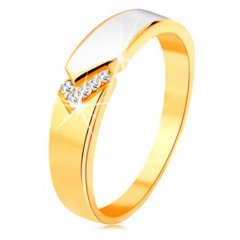 Prsteň zo žltého 14K zlata - lesklý pás bielej glazúry, číre zirkóniky - Veľkosť: 60 mm