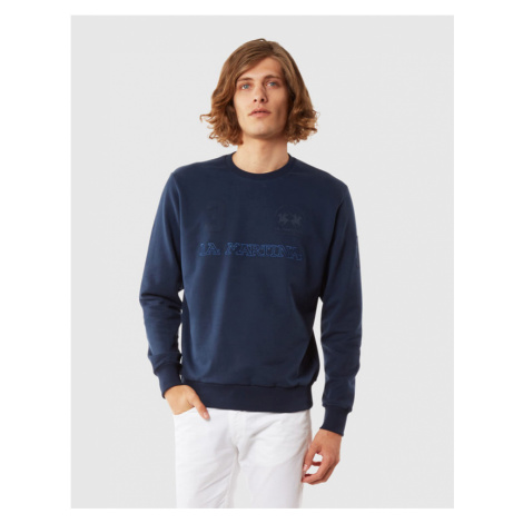 Mikina La Martina Man Cotton Fleece Crew Neck - Modrá