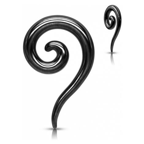 Expander z ocele do ucha v čiernom farebnom odtieni - hladká zatočená špirála - Hrúbka piercingu
