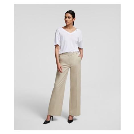 Nohavice Karl Lagerfeld Wide Leg Cotton Pants W/ Logo