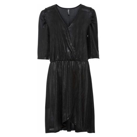 Lesklé šaty v zavinovacom vzhľade bonprix