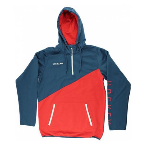 Mikina Ccm Tech Fleece Hoody 1/4 Zip Ensign Blue/High Risk Red Sr