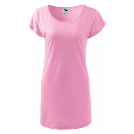 Dámske splývavé tričko/šaty, ružová