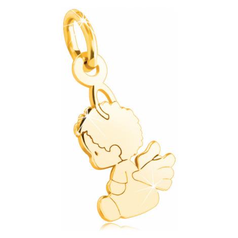 Zlatý 14K prívesok - sediaci anjelik s krídlami, hladký zrkadlovolesklý povrch