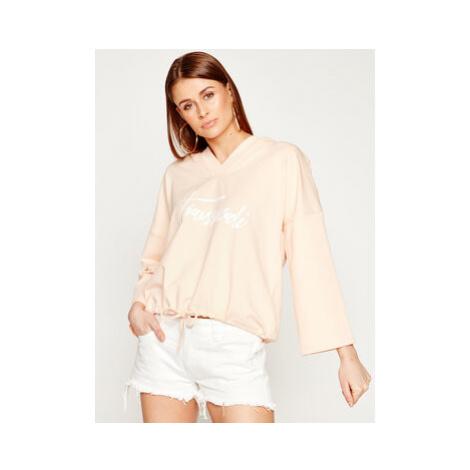 Trussardi Jeans Mikina Hoodie Technical Fleece 56F00091 Ružová Regular Fit