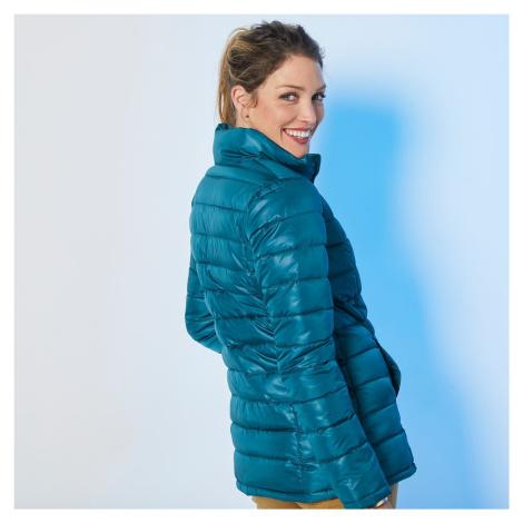 Blancheporte Jednofarebná prešívaná bunda, krátka smaragdovozelená