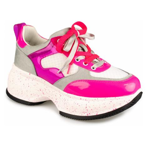 Gryxx bielo-ružové tenisky na platforme White Fushi