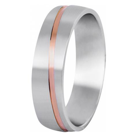 Beneto Pánsky bicolor snubný prsteň z ocele SPP07 mm