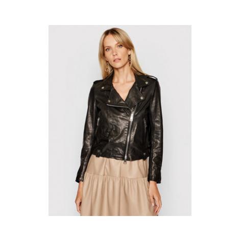 Imperial Kožená bunda V3025400 Čierna Slim Fit