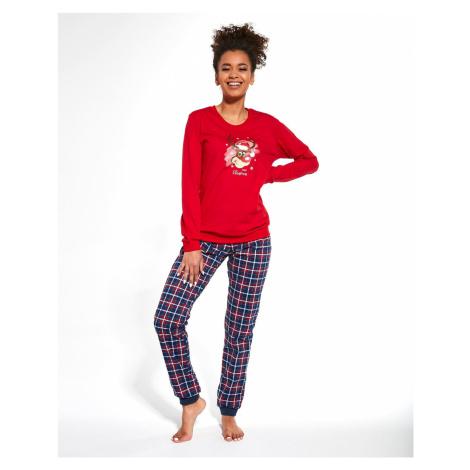 Dámske pyžamo Cornette Reindeer 671/261 LL Merry Christmas Červeno-tmavěmodrá