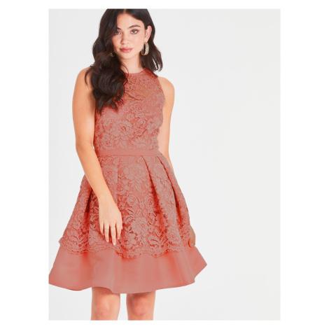 Marhuľové čipkované šaty Little Mistress