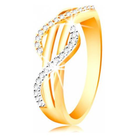 Zlatý prsteň 585 - zirkónové vlnky zo žltého a bieleho zlata, rovné hladké pásy - Veľkosť: 60 mm
