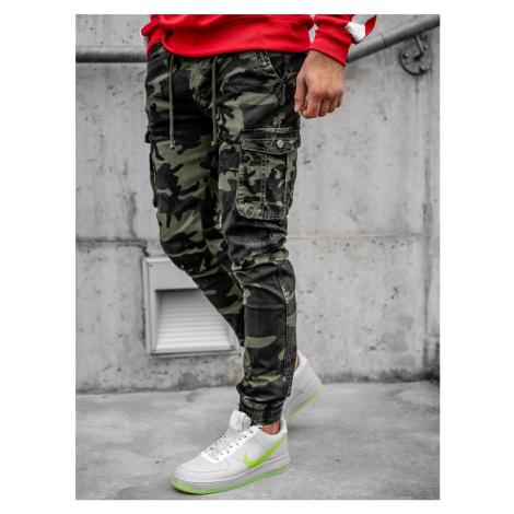 Zelené kapsáčové jogger nohavice s maskáčovým vzorom Bolf CT6019